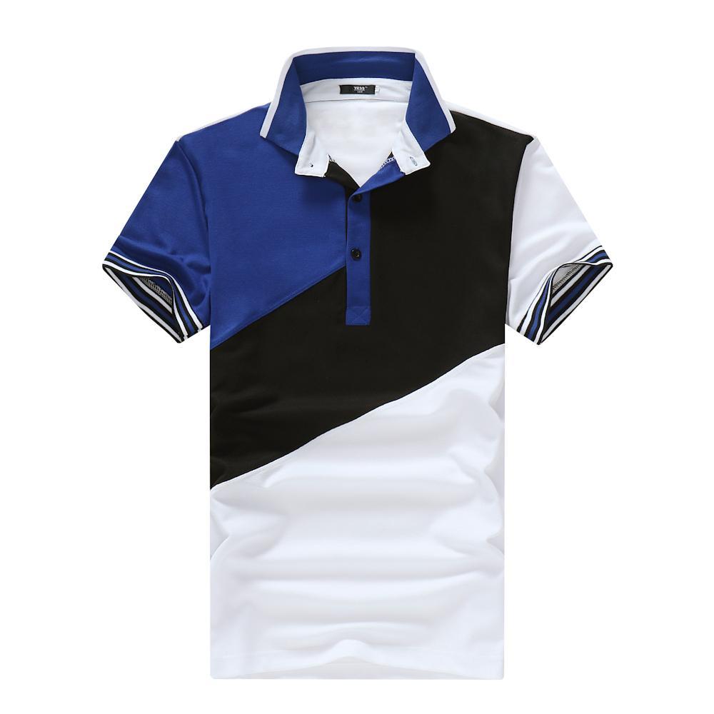 Fashion-Mens конструктора Polos Joint отворотом Crew Neck Color Matching Лето Новая мода европейских и американских Ветер Повседневный стиль с коротким рукавом