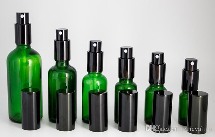 Wholesale Green Glass Spray Bottles Thick Empty Perfume Bottles with Mist Sprayer Pump 10ml 15ml 20ml 30ml 50ml 100ml Green Bottles in Stock