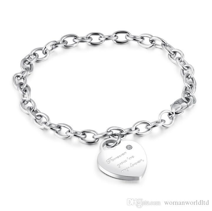 Top Qualität Titan Stahl Schmuck justierbare Armbänder Lady Herzanhänger Vergoldete Armband-Armbänder Freunde Geschenke Freies Verschiffen