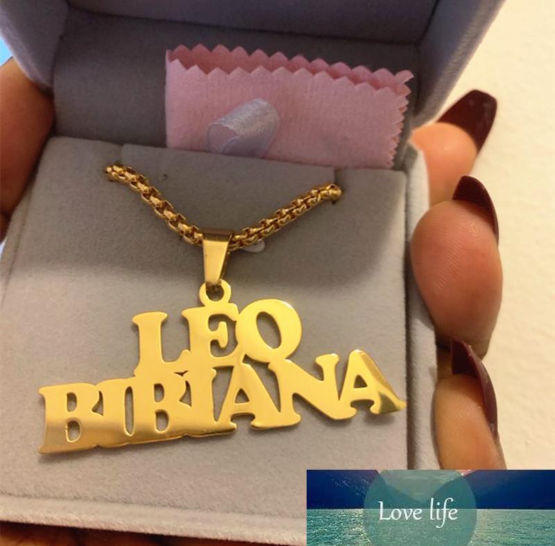 Joyería gótica de encargo de acero inoxidable colgante del grano del oro a largo collar de cadena Nombre personalizado Placa de identificación Collares Hombres Mujeres regalo
