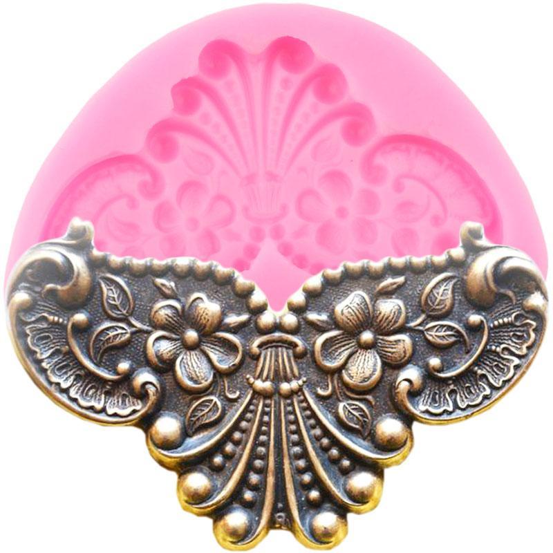 Miroir 3D image médaillon Cadre silicone Moisissures Relief baroque fleurs Fondant décoration de gâteau au chocolat Outils Bijoux bonbons
