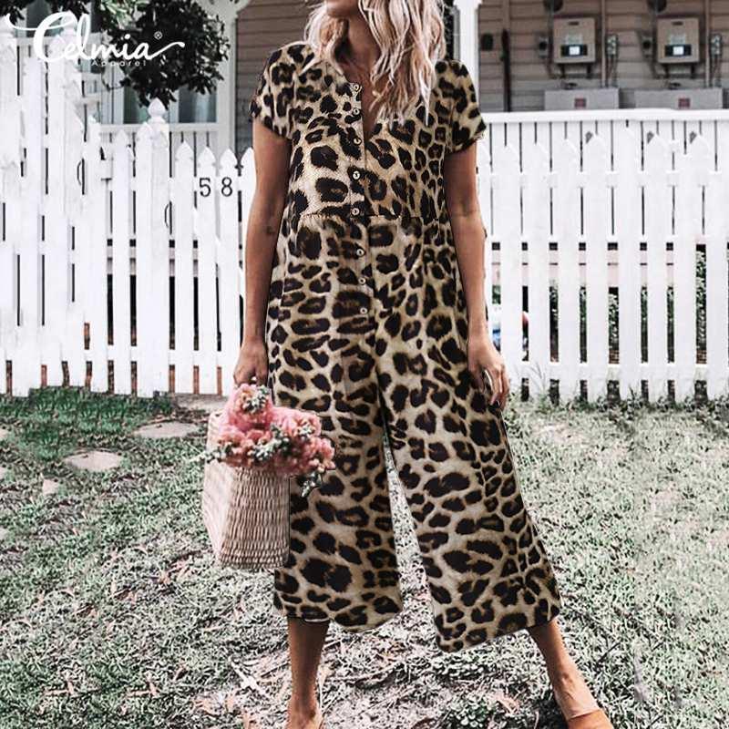 Celmia lungo tuta delle donne di estate dell'annata pagliaccetti del leopardo Bottoni stampa casuale Tuta manica corta gamba larga Tuta Plus Size