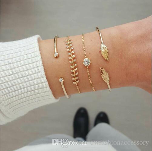 4 Pcs/set Women's Fashion Crystal Leaves Geometric Chain Gold Bracelet Set Bohemian Vintage Jewelry Wholesale