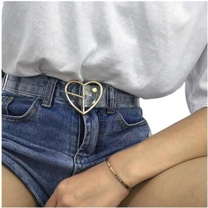 Heart Belts For Women Resin Cute Transparent Belt Jeans Dress Waist Strap Pin Buckle Harajuku Ladies Round PVC Clear Belt