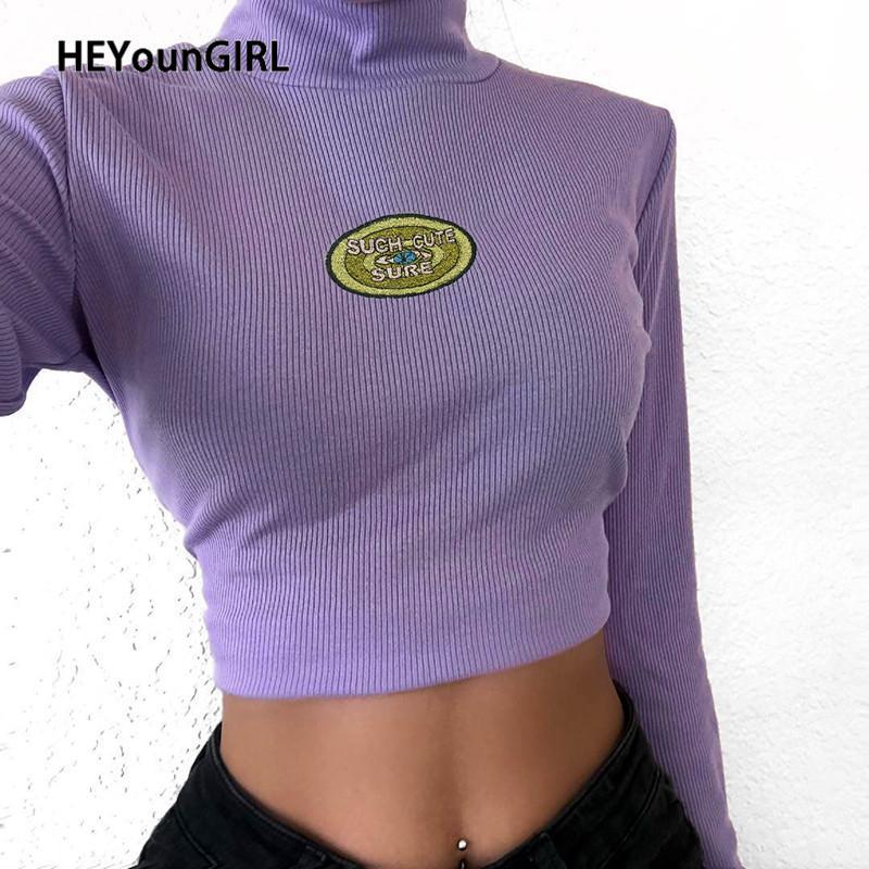 Ребристый Черепаха HEYounGIRL шеи t-рубашки женщины вышивка с длинным рукавом женщины футболки топы тис высокая улица растениеводство футболка Леди Осень