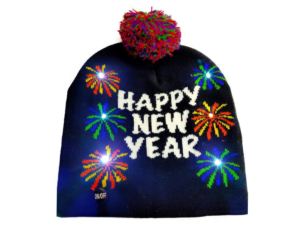 Neuheit HAPPY NEW YEAR Weihnachten LED Strickmütze Fashion Weihnachten Aufleuchtenspielwaren Beanies Hüte Außenleuchte Pompon Kugel Skimütze