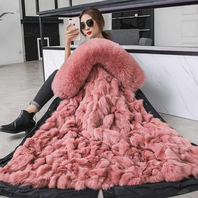 Off-season Promotion Winter Coat Women 2020 New Real Fur Liner Detachable Fur Coat Xlong Hooded Parkas Plus Size Female