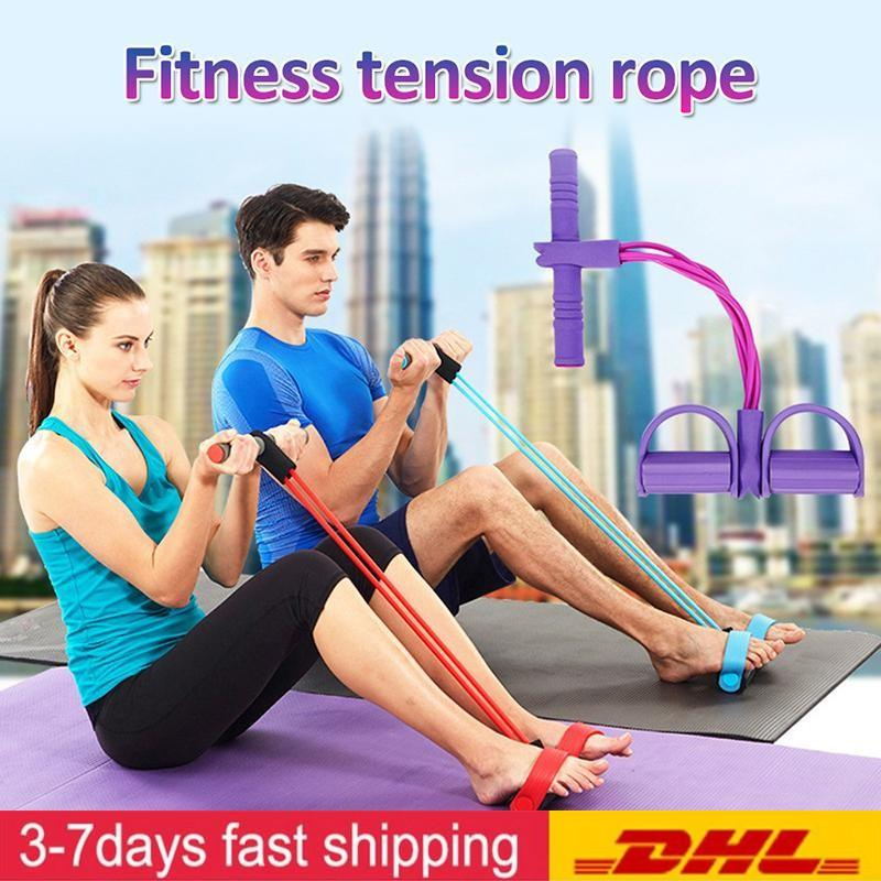 US Stock Fitness Gum 4 Tube Resistance Bands Sit up Pull Rope Expander Elastic Bands Yoga equipment Pilates Workout Tool FY7009