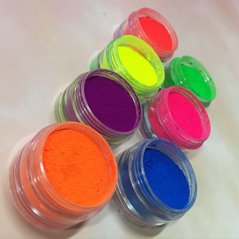 7 farben Mix / set Neon Lose Lidschatten Pigment Matte Mineral Spangle Nail Make Up Schimmer Shining Lidschatten