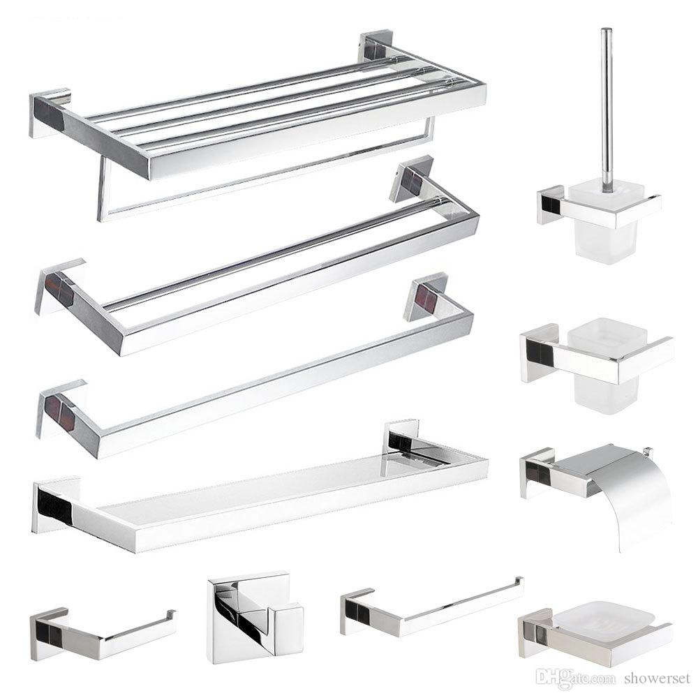 acessórios do banheiro do aço inoxidável Chrome Bar Toalha Polido Saboneteira suporte de papel toalha Ring Set Stacks Banho Hardware