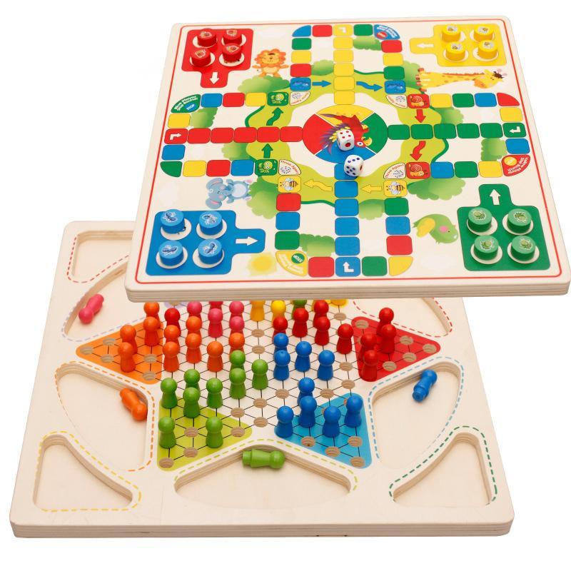 2 em 1 multi-função madeira Xadrez Crianças Criança Toy Educacional Interação pai-filho Puzzle Game vôo Chess 5069