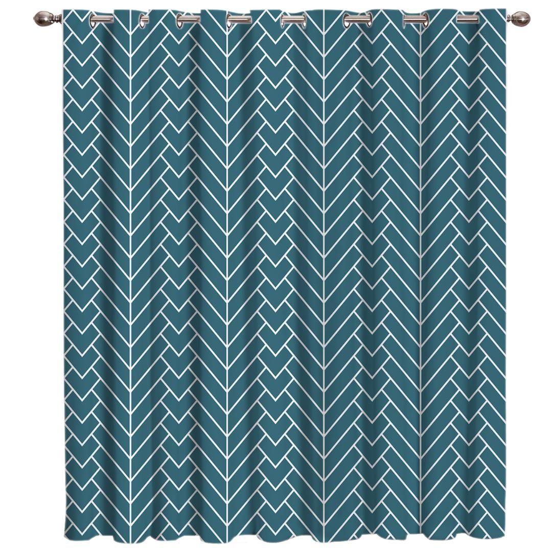 Sfondo blu a spina di pesce Motivo naturale Trattamenti di finestra Tende Valance tende Bagno in camera da letto cucina per bambini al coperto
