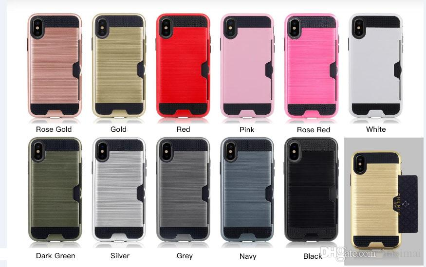 for iPhone X XR XS Max 6 7 8 Plus and Samsung Note 9 8 S10 S9 S8 Plus Edge Phone Case Brushed Credit Card Slot TPU PC Case