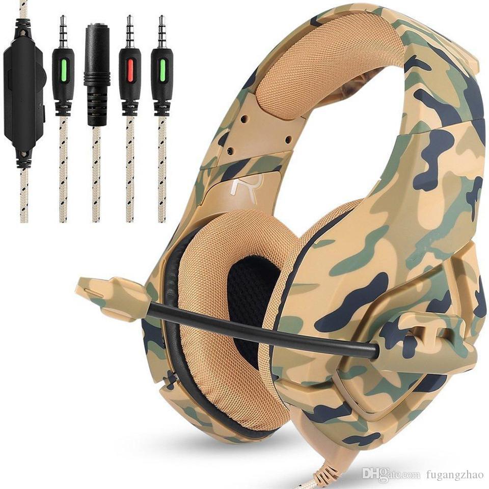 2019 fones camuflagem headset Baixo headset gaming jogo Casque com microfone para fones de ouvido de PC para Game Cabo