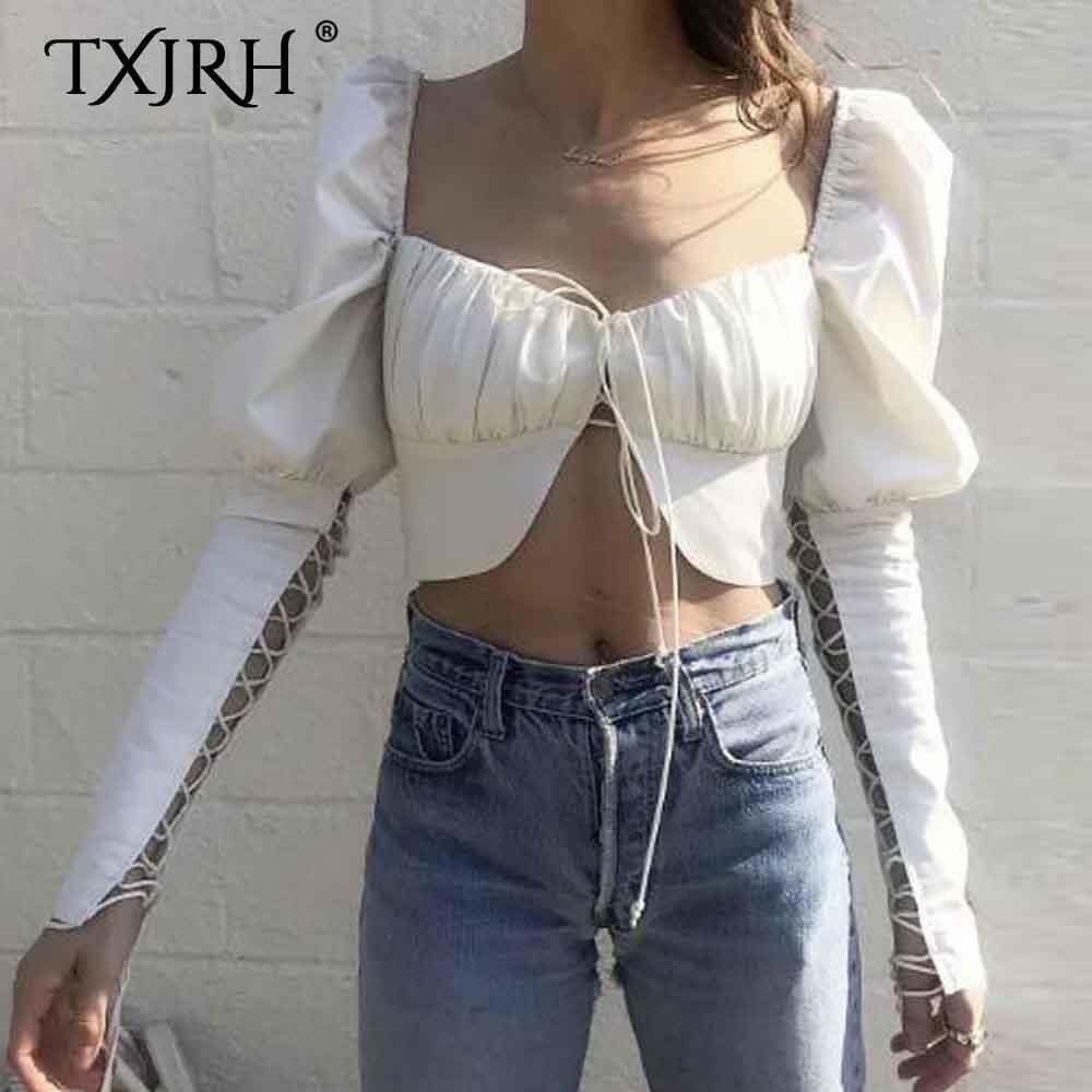 Txjrh Sexy Hollow Out Schnürung Bandaged Langarm Square Neck Shirt Schlanke Kurzbluse Crop Cotton Exposed Navel Tops 2 Style MX190712