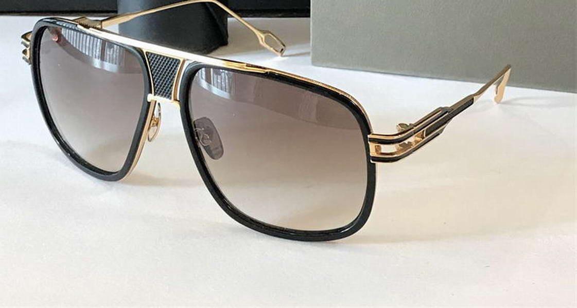 Vintage Квадратные солнцезащитные очки Золото Черный Коричневый Smoke 2077 Очки Occhiali да подошва Мода Мужские солнцезащитные очки новые с коробкой