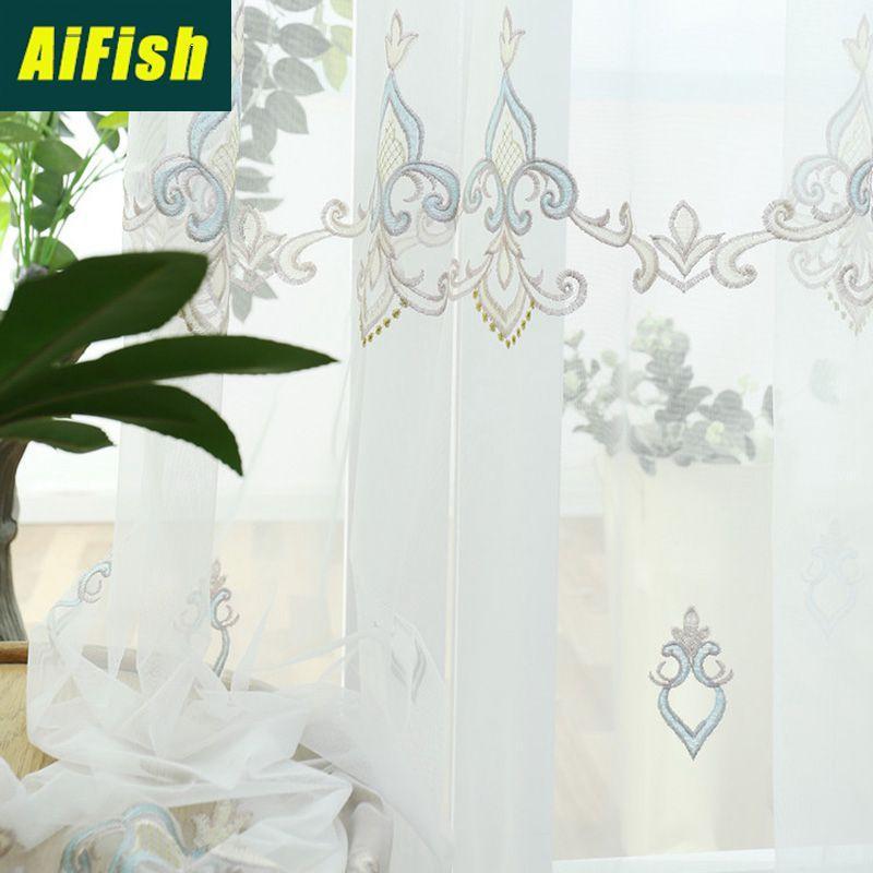 de haute qualité européenne écran brodé fenêtre Mesh bleu Gaze respirante Convient pour Salon Chambre Balcon M045T3