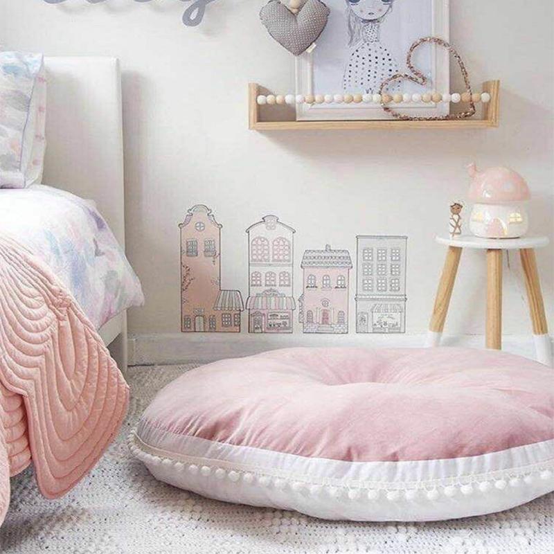 Ins 90 cm bambini giocano tappeti per bambini tappeti rotondi in cotone addensare crawling coperta pavimento moquette giocattoli baby room decoration j190508