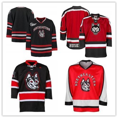 Personalizzato XS-5XL Northeastern Huskies K1 hokey Jersey Nero Rosso Stitch cucito qualsiasi giocatore o numero di trasporto