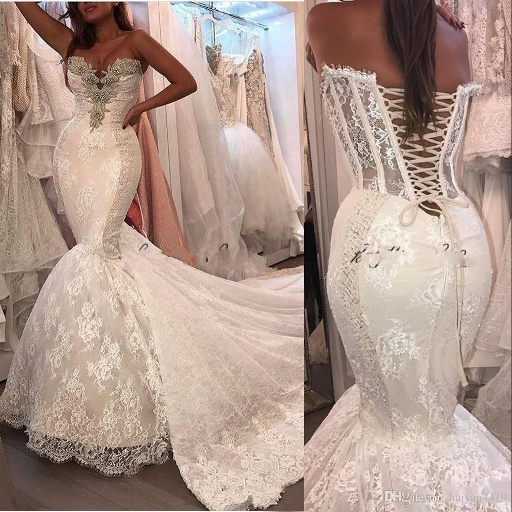 New Luxury Mermaid Wedding Dresses Lace Appliques Sweetheart Chapel Train Sleeveless Crystal Corset Back Wedding Dress Formal Bridal Gowns Simple Wedding Dress Black And White Wedding Dresses From Haiyan4419 155 66 Dhgate Com