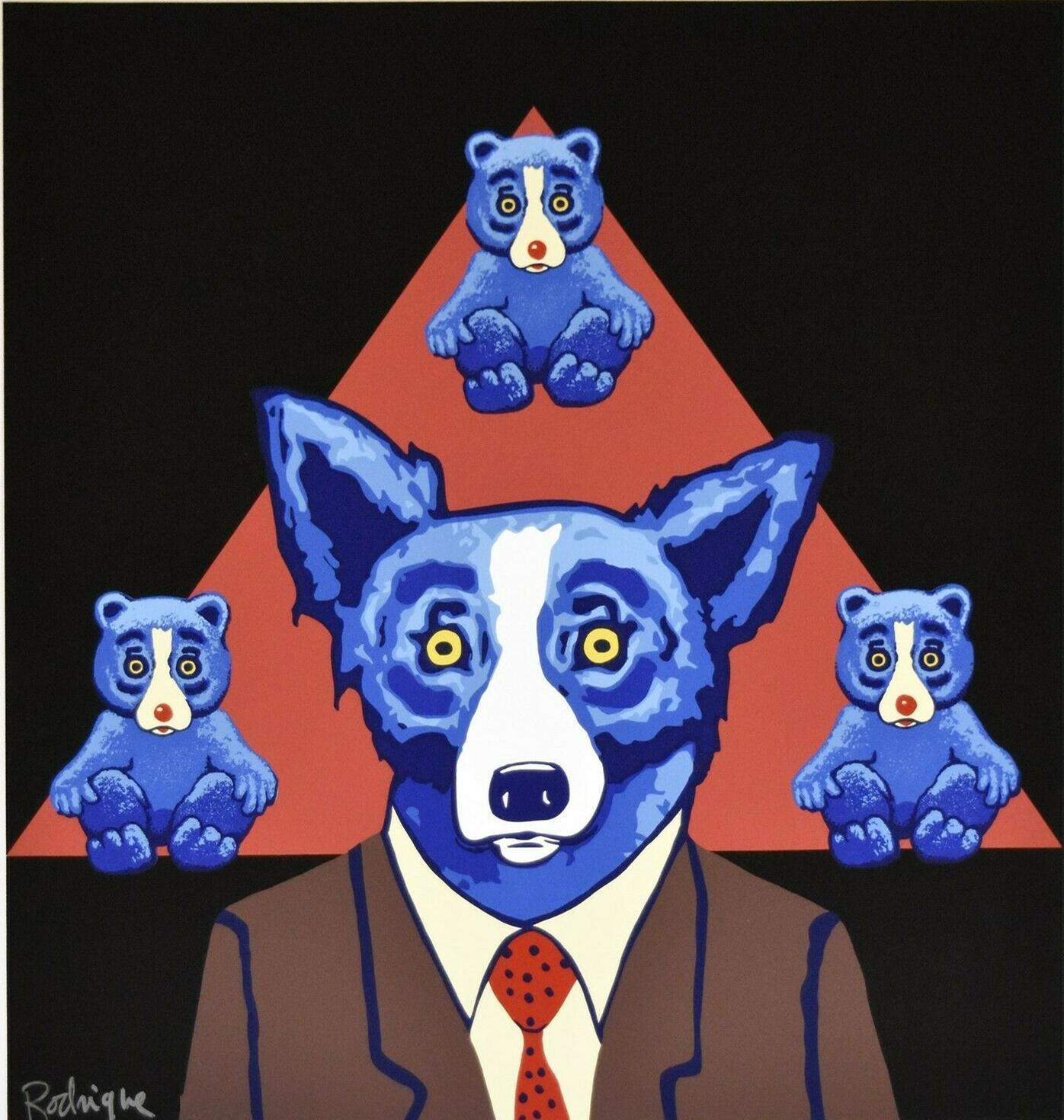 A021 # George Rodrigue Blue Dog hat Ähnlichkeit Wohnkultur Handwerk / HD-Druck-Ölgemälde auf Leinwand-Wand-Kunst-Leinwandbilder 200111