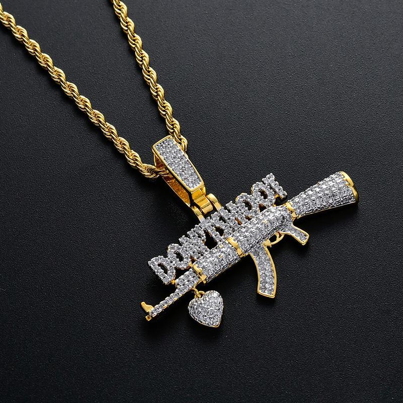 Хип-хоп Цирконий Асфальтовой Bling Iced Out Не стреляйте Сердце Gun Подвески ожерелье для мужчин Рэпера ювелирных золотого цвета