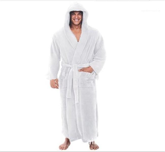 Pijama cor sólida com capuz Mens Belt Designer Robes manga comprida Outono-Inverno Oversize Super Long Pijamas Casual Mens solto