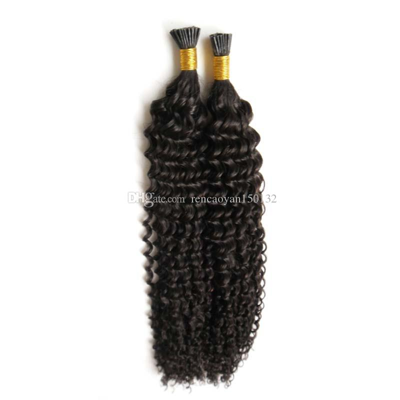 Unprocessed Mongolian Virgin Hair Keratin Human Fusion Hair I Tip afro kinky curly Remy Pre Bonded Hair Extension 100strands Free Shipping