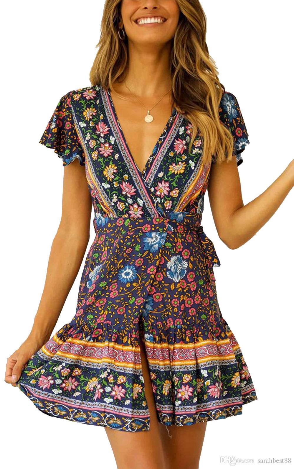Women Short Dress Short Sleeve V-Neck Lacing Wrapped Front Split Floral Printed Swing Party Beach Dress Summer Beachwear