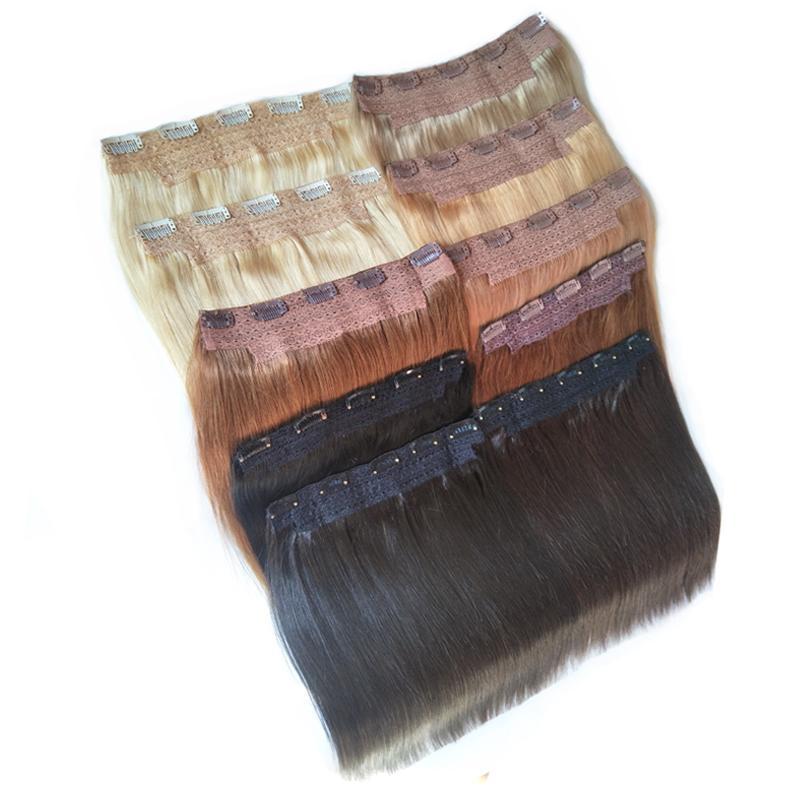 Indische brasilianische seidige gerade menschliche Haarspange in den Erweiterungen einteiliger Clip in der menschlichen Haarverlängerung schwarz braun blonde Vollkopf 70g 100g