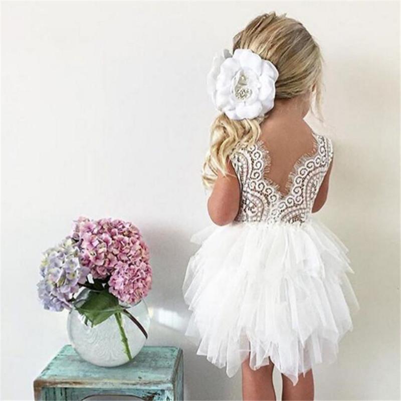 Abito 2020 della principessa del merletto primavera / estate delle nuove ragazze Mesh Dress Baby per bambini da sposa
