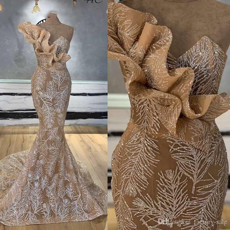 2020 Gorgeous Champagne Mermaid Evening Dresses Ruffles Beads Prom Party Gown Arabian Women Formal Wear Vestido de Noche