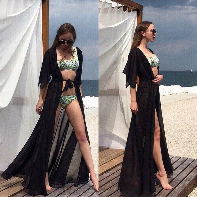 Vestidos casuales Mujeres Vestido de verano Nadar Playa Solid Sundress Chiffon Kimono Cardigan Bikini CUBIERTE ARRIBA RESPUESTA DE PLAYA LARGO