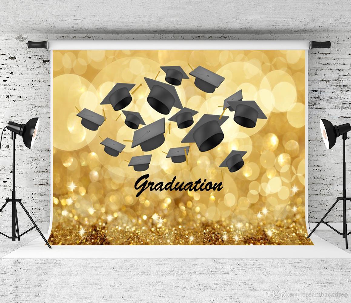 2021 Laurea Stagione Sfondo Golden Brokeh Fotografia Fotografia da studio Bachelor Cap Decor Backdrops per gli studenti Grad Party Shoot Studio Prop