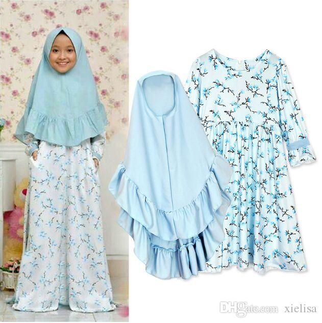 vestido muçulmano bebê meninas manga longa tremendo + lenço na cabeça, duas peças de roupa infantil
