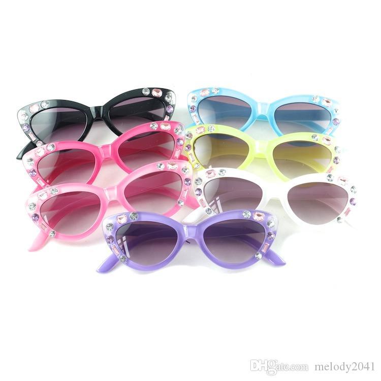Mode Cateye lunettes de soleil pour enfants avec strass Designer Pretty Baby Girls Lunettes de soleil 7 couleurs en gros