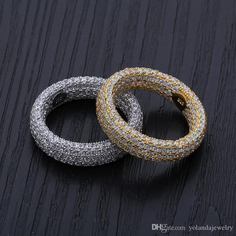 Europei E Americani HotsaleHip Hop personalità anello degli uomini anello placcato oro 18k 925 Sterling Silver Micro Inserire zircone placcato l'anello d'argento