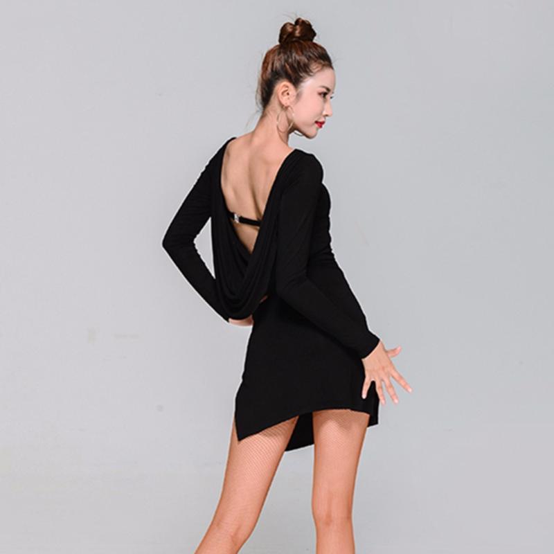 Bonne qualité de danse latine Shirtdress Pour Lady Black Leopard Fleur Backless Jupe Femmes Place Salle de bal Robes exercice 13154
