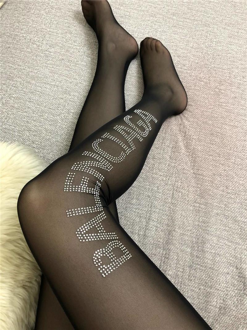 ترف الماس الجوارب على الموضة للنساء في فصل الشتاء تدفئة الساق جوارب القطن الأسود تنفس الجوارب مع صندوق