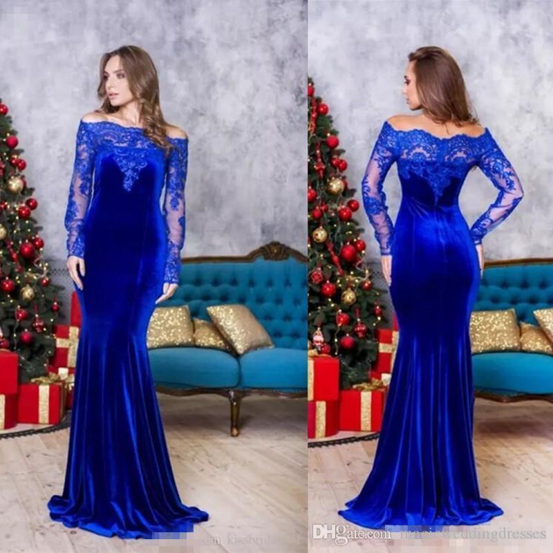 Vestidos de fiesta de color azul real Sirena de manga larga Fuera del hombro Vestidos de noche de encaje batas de fiesta Vestido formal Vestidos de fiesta