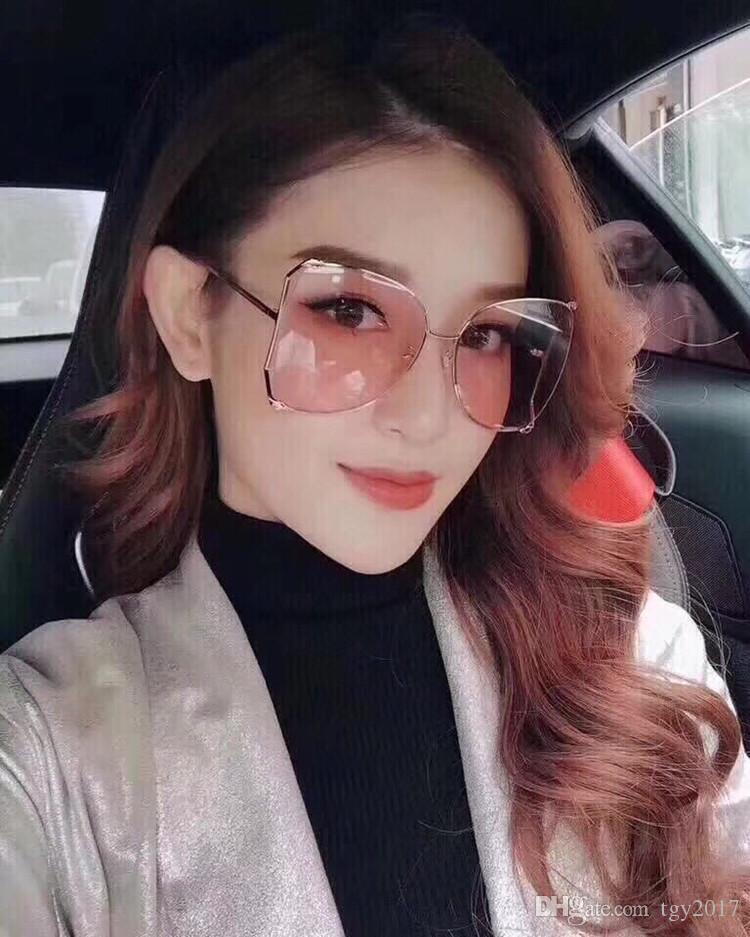 Fashional gafas de sol de metal con borde grande irregular GG0252S UV400 63-18-135 gafas de sol modelo hotsale star de alta calidad con estuche completo