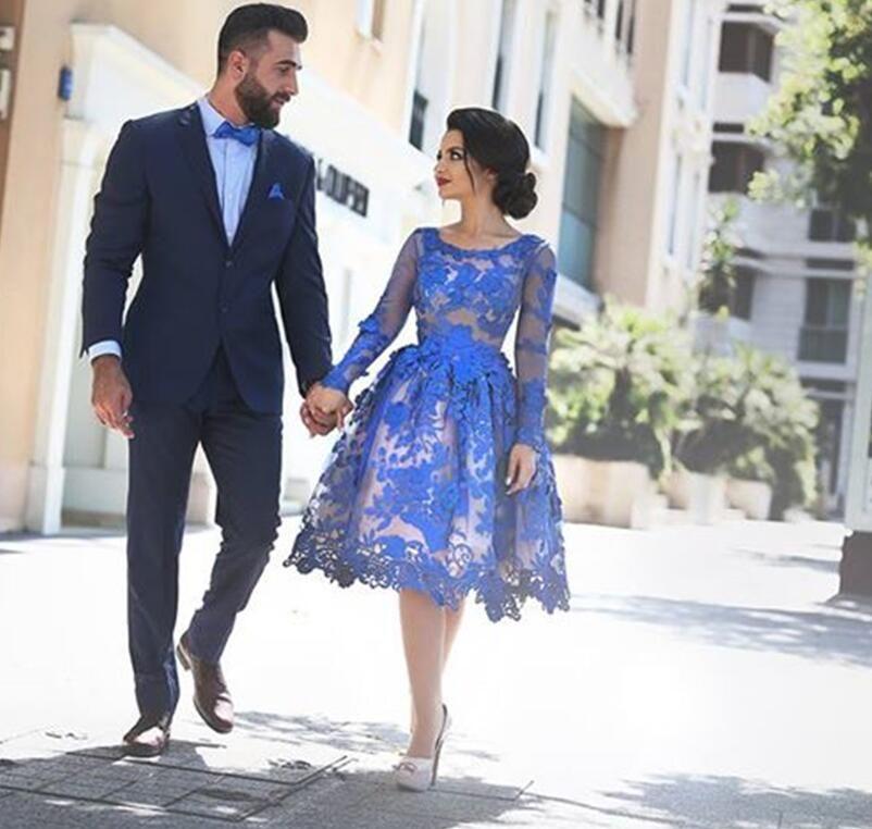 Royal Blue 2019 Elegante Cocktailkleider A-Line Lange Ärmel Applikationen Spitze Party Plus Size Heimkehr Kleider
