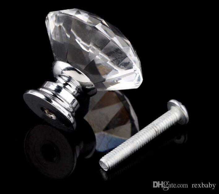 30mm Verre Armoire Bouton Tiroir Brillant Poli Chrome Poignée Poignée Cuisine Porte Armoire Matériel Utilisé Pour Poitrine Commode
