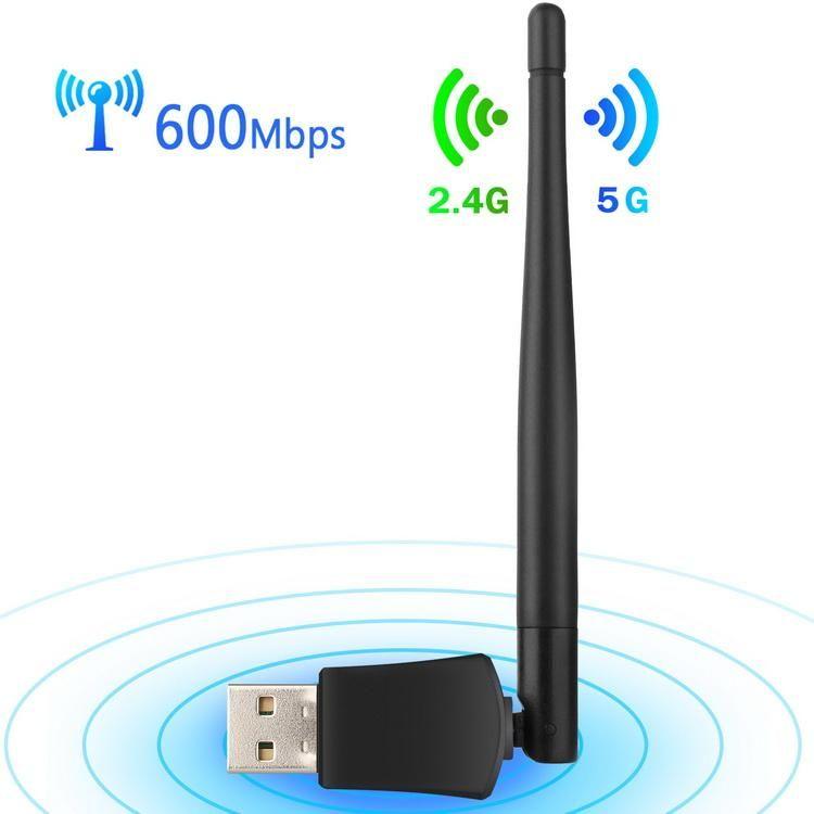 Placa de rede LAN Card Wireless Adapter 100pcs Mini USB WiFi AC 600Mbps 600M Computador Dual Band 2.4G / 5G