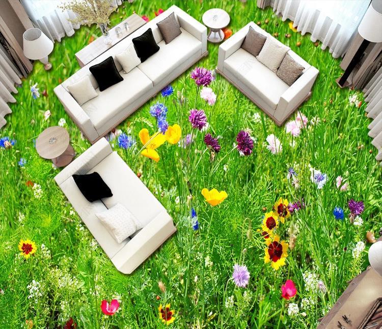 Custom Floor 3D murales autoadhesivo papel pintado de flores Hierba Suelo de PVC impresión pegatinas impermeable antideslizante fondo de pantalla decoración mural