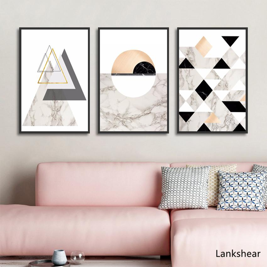 Abstract Geometric Marble Textur Canvas Painting Black and White Nordic Posters and Prints Wall Art Picture Living Room Decor