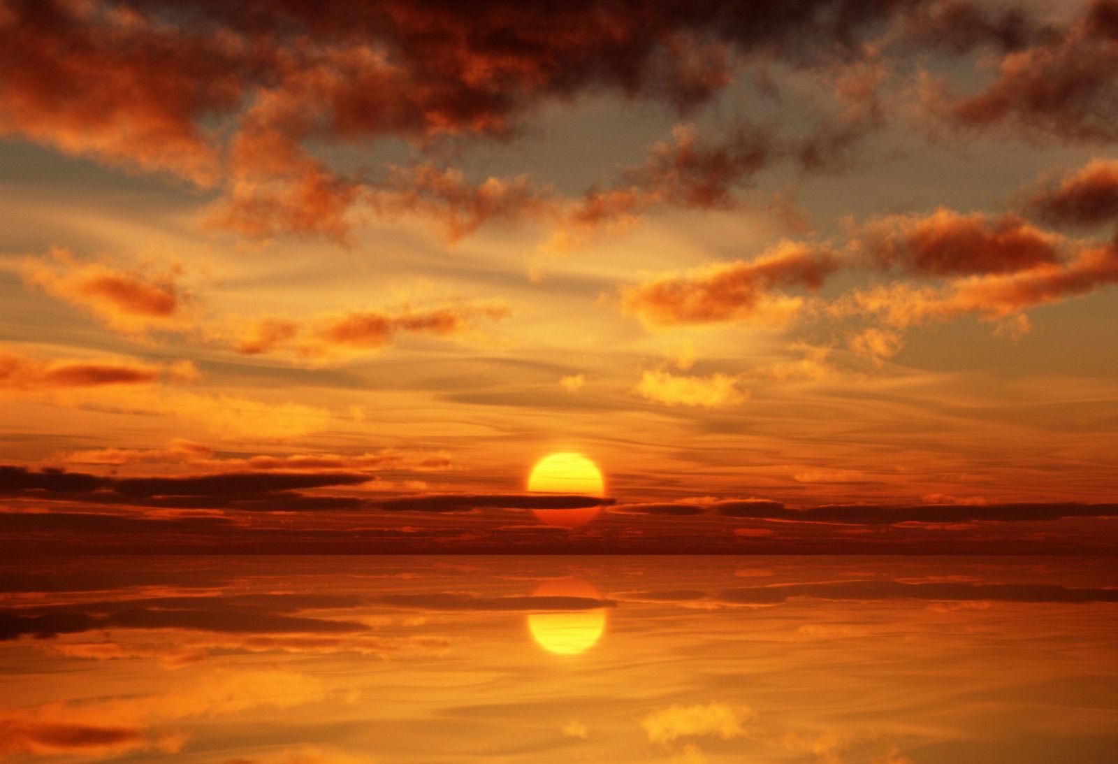 Derin Turuncu Okyanus Sunset Sanat İpek Baskı Poster 24x36inch (60x90cm) 089