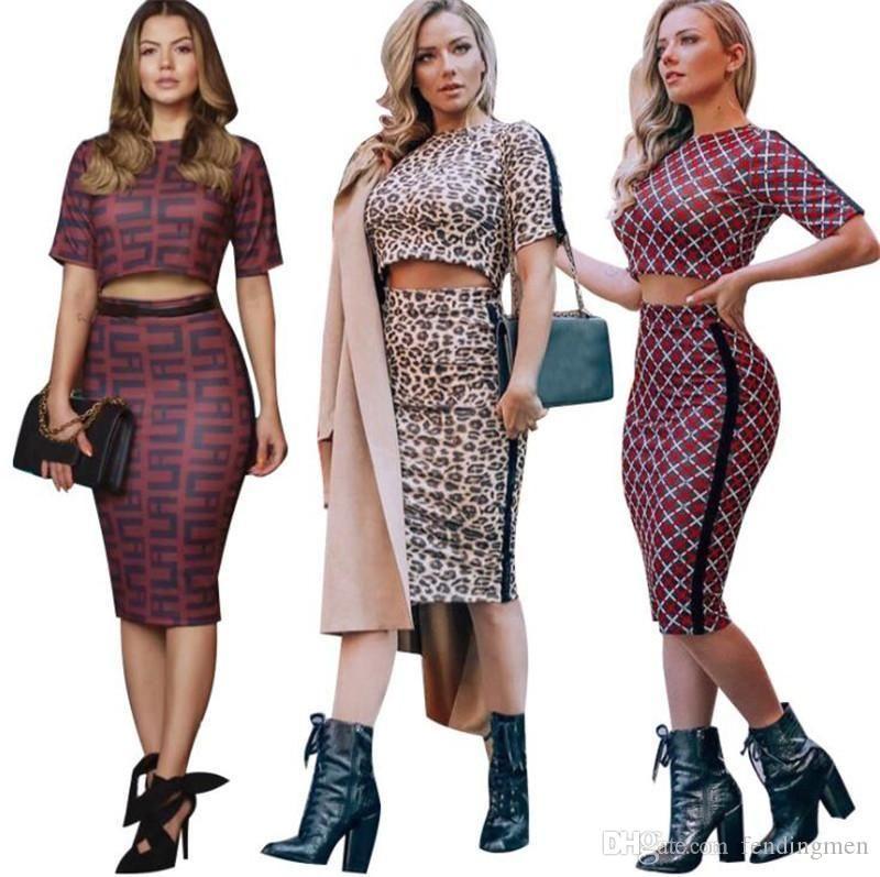 Frauen Designer 2 Stück Kleid Sexy Zeige Bauchn dünne Zweiteilige Sets beiläufige Art und Weise der Frauen Kleidung