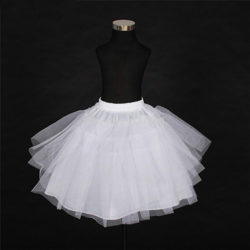 Top Quality Stock Three Layer Net White A-Line Flower Girl Dress Petticoat / Child Crinolines/Underskirt