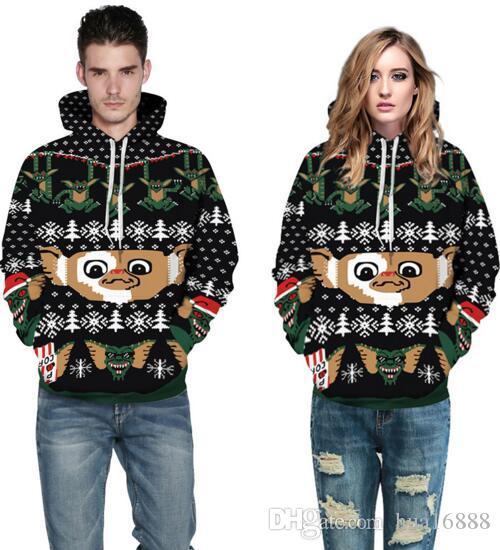 señoras de la manera de los hombres sudadera con capucha de los deportes de Navidad par sudadera de impresión digital de monstruo de béisbol chaquetas de las mujeres de los hombres y